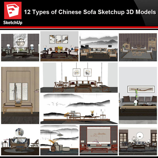 💎【Sketchup Architecture 3D Projects】12 Types of Chinese sofa Sketchup 3D Models - Architecture Autocad Blocks,CAD Details,CAD Drawings,3D Models,PSD,Vector,Sketchup Download