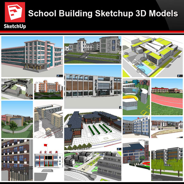 💎【Sketchup Architecture 3D Projects】20 Types of School Design Sketchup 3D Models V1 - Architecture Autocad Blocks,CAD Details,CAD Drawings,3D Models,PSD,Vector,Sketchup Download