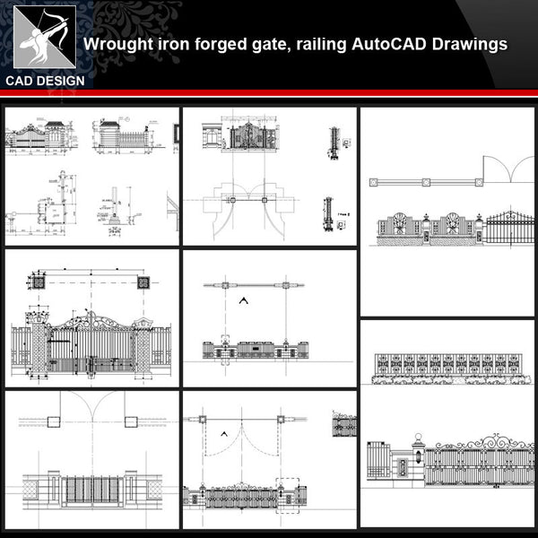 ★【Wrought iron,forged gate,railing Autocad Drawings】All kinds of Wrought iron CAD Drawings - Architecture Autocad Blocks,CAD Details,CAD Drawings,3D Models,PSD,Vector,Sketchup Download