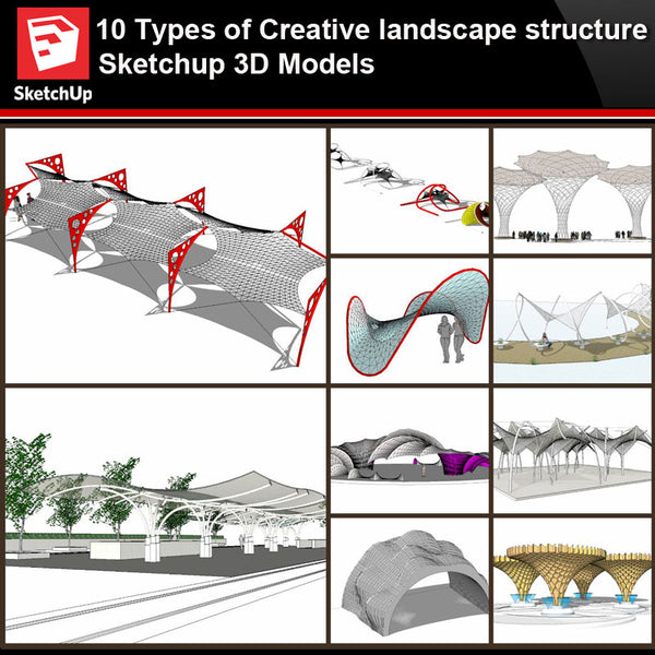 💎【Sketchup Architecture 3D Projects】10 Types of Creative landscape structure Sketchup 3D Models V3 - Architecture Autocad Blocks,CAD Details,CAD Drawings,3D Models,PSD,Vector,Sketchup Download