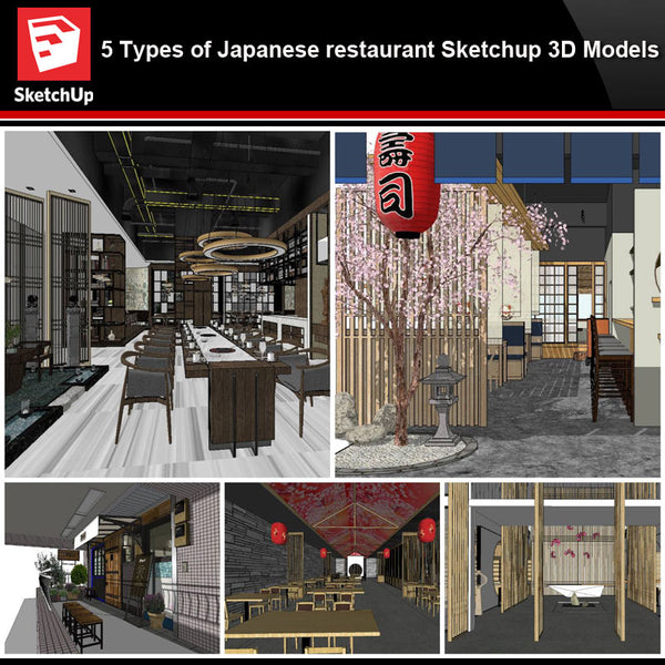 💎【Sketchup Architecture 3D Projects】5 Types of Japanese restaurant Sketchup 3D Models - Architecture Autocad Blocks,CAD Details,CAD Drawings,3D Models,PSD,Vector,Sketchup Download