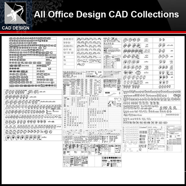 ★【Office Design Gallery Autocad Blocks,Drawings】All Office layout elements Bundle - Architecture Autocad Blocks,CAD Details,CAD Drawings,3D Models,PSD,Vector,Sketchup Download