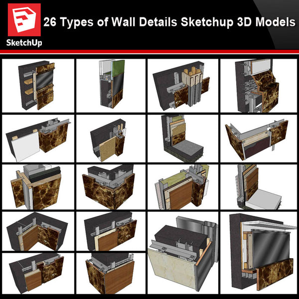 【Best 26 Types of Wall Details Sketchup 3D Detail Models】 (★Recommanded★) - Architecture Autocad Blocks,CAD Details,CAD Drawings,3D Models,PSD,Vector,Sketchup Download