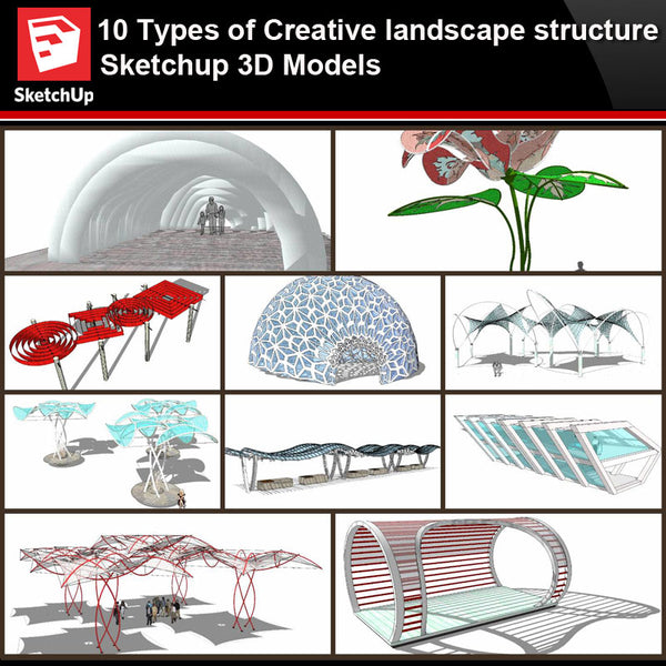 💎【Sketchup Architecture 3D Projects】10 Types of Creative landscape structure Sketchup 3D Models V2 - Architecture Autocad Blocks,CAD Details,CAD Drawings,3D Models,PSD,Vector,Sketchup Download