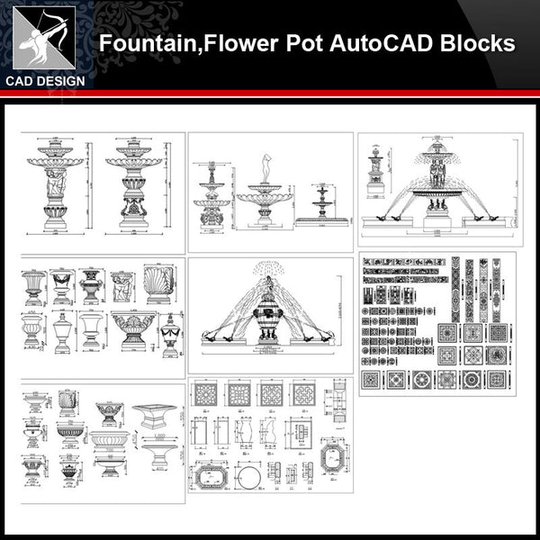 ★【Fountain,Flower Pot Autocad Blocks】All kinds of CAD blocks Bundle - Architecture Autocad Blocks,CAD Details,CAD Drawings,3D Models,PSD,Vector,Sketchup Download