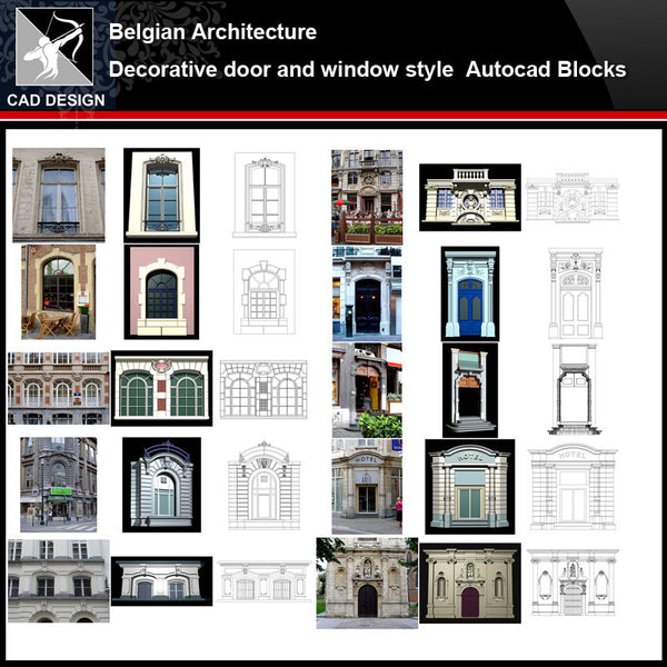★【Belgian Architecture Style Design】Belgian architecture · Decorative door and window style CAD Drawings - Architecture Autocad Blocks,CAD Details,CAD Drawings,3D Models,PSD,Vector,Sketchup Download