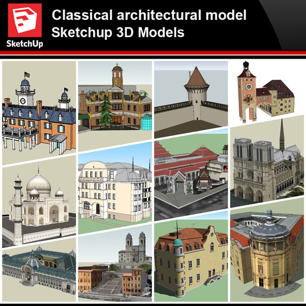 💎【Sketchup Architecture 3D Projects】European Classical Architecture Sketchup 3D Models V3 - Architecture Autocad Blocks,CAD Details,CAD Drawings,3D Models,PSD,Vector,Sketchup Download