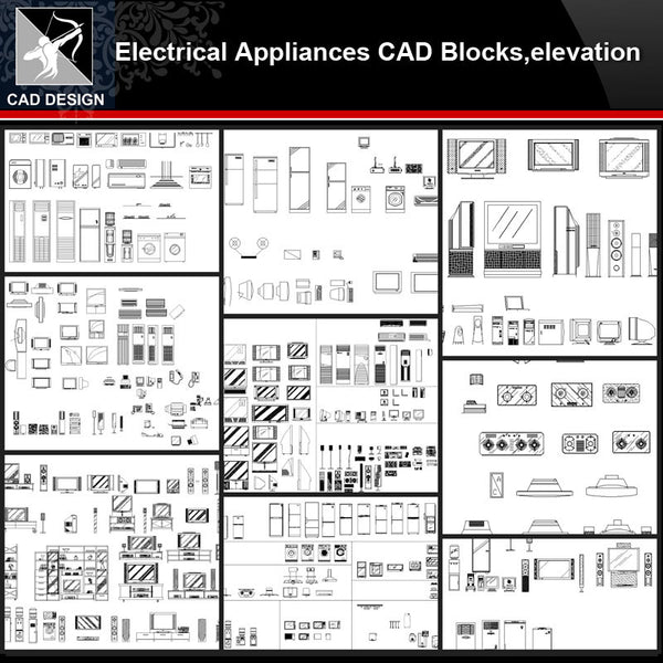 ★【Electrical Appliances Autocad Blocks Collections】All kinds of Electrical Appliances CAD Blocks - Architecture Autocad Blocks,CAD Details,CAD Drawings,3D Models,PSD,Vector,Sketchup Download