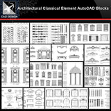 ★【Architectural Classical Element Autocad Blocks V.1】All kinds of architecture decorations CAD blocks Bundle - Architecture Autocad Blocks,CAD Details,CAD Drawings,3D Models,PSD,Vector,Sketchup Download