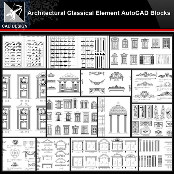 ★【Architectural Classical Element Autocad Blocks V.1】All kinds of architecture decorations CAD blocks Bundle