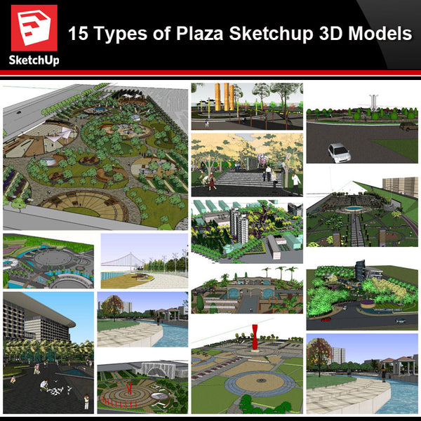 💎【Sketchup Architecture 3D Projects】15 Types of Plaza Landscape Sketchup 3D Models V2 - Architecture Autocad Blocks,CAD Details,CAD Drawings,3D Models,PSD,Vector,Sketchup Download