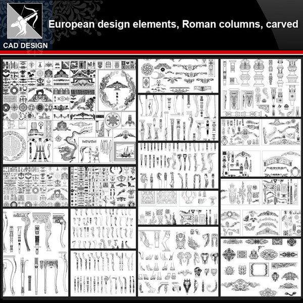 ★【European Architecture design elements,Roman columns,Carved】All kinds of European Architecture CAD Blocks Bundle - Architecture Autocad Blocks,CAD Details,CAD Drawings,3D Models,PSD,Vector,Sketchup Download
