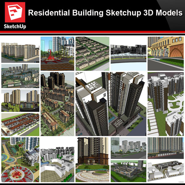 💎【Sketchup Architecture 3D Projects】20 Types of Residential Building Sketchup 3D Models V3 - Architecture Autocad Blocks,CAD Details,CAD Drawings,3D Models,PSD,Vector,Sketchup Download