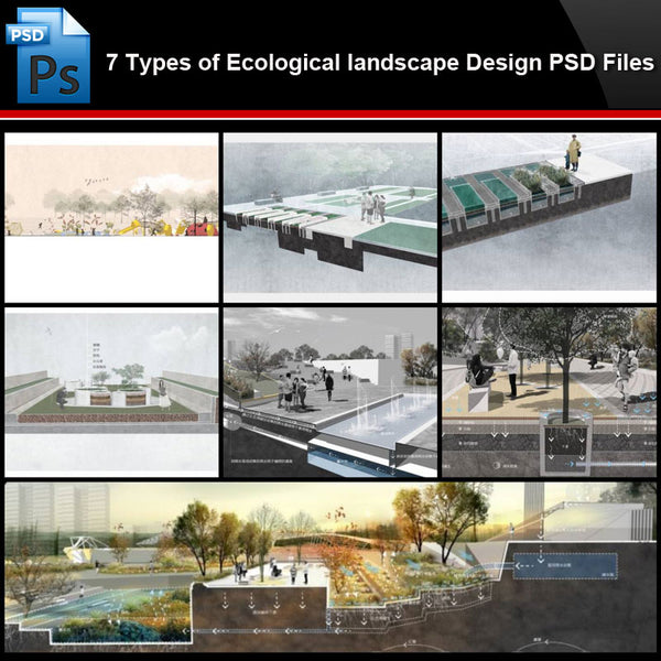★Photoshop PSD Files-7 Types of Ecological landscape Design PSD Files (Total 1.77GB) - Architecture Autocad Blocks,CAD Details,CAD Drawings,3D Models,PSD,Vector,Sketchup Download
