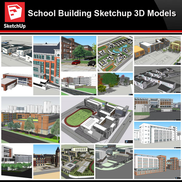 💎【Sketchup Architecture 3D Projects】20 Types of School Design Sketchup 3D Models V5 - Architecture Autocad Blocks,CAD Details,CAD Drawings,3D Models,PSD,Vector,Sketchup Download