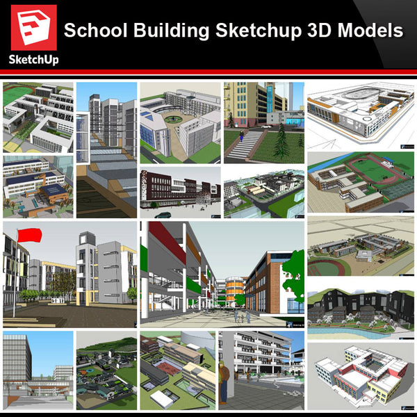 💎【Sketchup Architecture 3D Projects】20 Types of School Design Sketchup 3D Models V4 - Architecture Autocad Blocks,CAD Details,CAD Drawings,3D Models,PSD,Vector,Sketchup Download