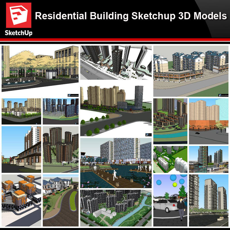 💎【Sketchup Architecture 3D Projects】20 Types of Residential Building Sketchup 3D Models V2