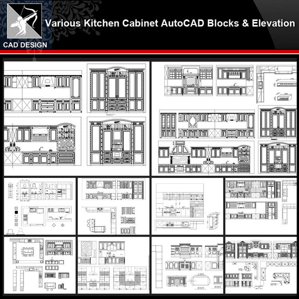 ★【Various Kitchen Cabinet Autocad Blocks & elevation V.2】All kinds of Kitchen Cabinet CAD drawings Bundle