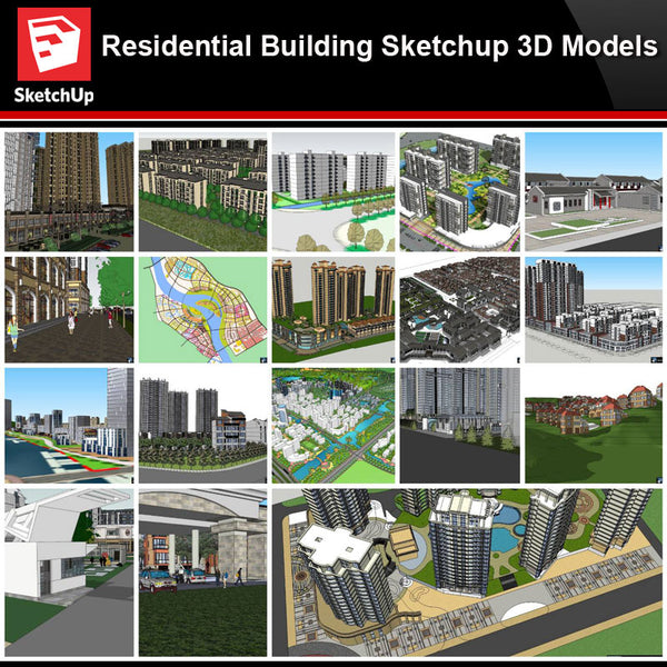 💎【Sketchup Architecture 3D Projects】20 Types of Residential Building Sketchup 3D Models V9 - Architecture Autocad Blocks,CAD Details,CAD Drawings,3D Models,PSD,Vector,Sketchup Download