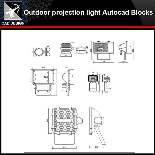 ★【Outdoor projection light Autocad Blocks】-All kinds of Autocad Blocks Collection