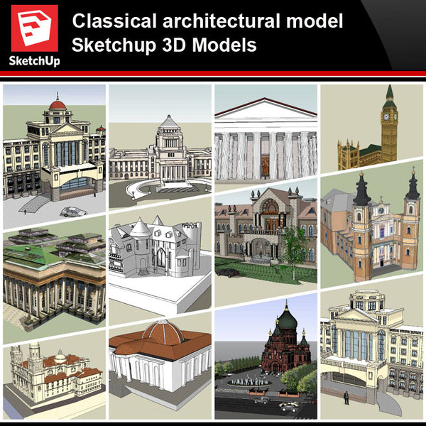 💎【Sketchup Architecture 3D Projects】European Classical Architecture Sketchup 3D Models V1 - Architecture Autocad Blocks,CAD Details,CAD Drawings,3D Models,PSD,Vector,Sketchup Download