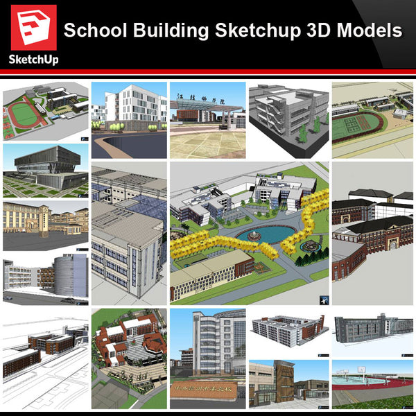 💎【Sketchup Architecture 3D Projects】20 Types of School Design Sketchup 3D Models V6 - Architecture Autocad Blocks,CAD Details,CAD Drawings,3D Models,PSD,Vector,Sketchup Download