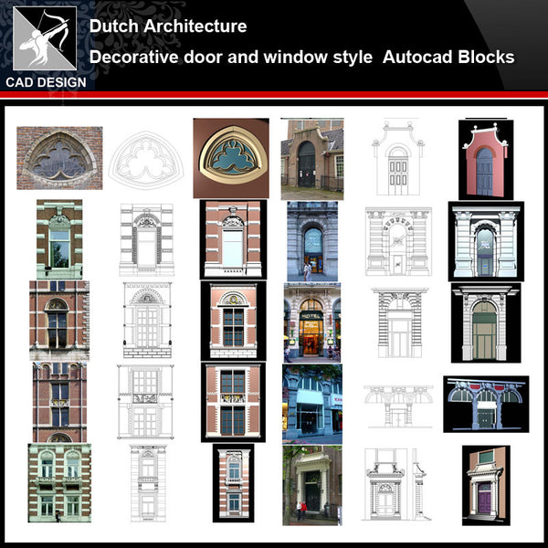 ★【Dutch Architecture Style Design】Dutch architecture · Decorative door and window style CAD Drawings - Architecture Autocad Blocks,CAD Details,CAD Drawings,3D Models,PSD,Vector,Sketchup Download