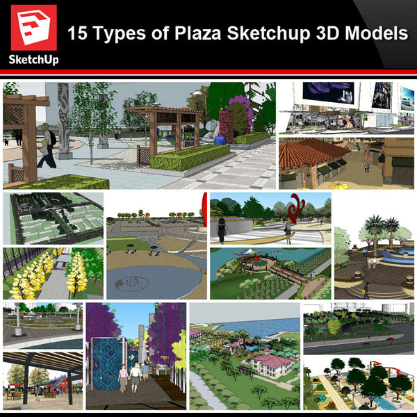 💎【Sketchup Architecture 3D Projects】15 Types of Plaza Landscape Sketchup 3D Models V3 - Architecture Autocad Blocks,CAD Details,CAD Drawings,3D Models,PSD,Vector,Sketchup Download