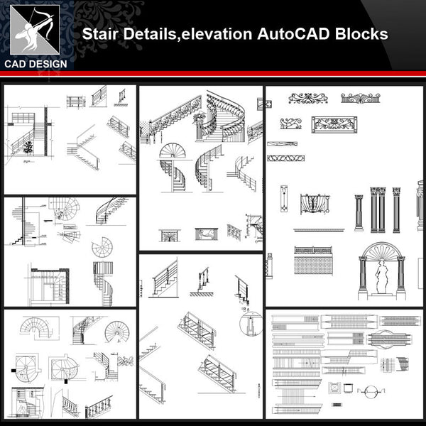 ★【Stair Autocad Blocks,details Collections】All kinds of Stair Design CAD Drawings