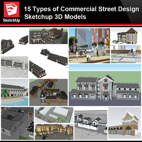 💎【Sketchup Architecture 3D Projects】15 Types of Commercial Street Design Sketchup 3D Models V3 - Architecture Autocad Blocks,CAD Details,CAD Drawings,3D Models,PSD,Vector,Sketchup Download