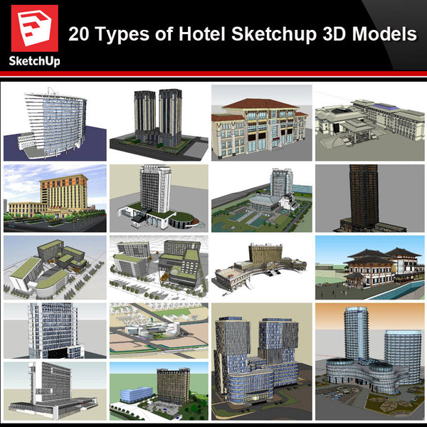 💎【Sketchup Architecture 3D Projects】20 Types of Hotel Sketchup 3D Models - Architecture Autocad Blocks,CAD Details,CAD Drawings,3D Models,PSD,Vector,Sketchup Download