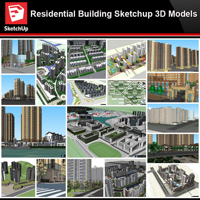 💎【Sketchup Architecture 3D Projects】20 Types of Residential Building Sketchup 3D Models V5