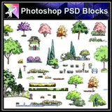 【Photoshop PSD Landscape Blocks】Hand-painted Tree Blocks 3