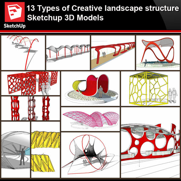 💎【Sketchup Architecture 3D Projects】10 Types of Creative landscape structure Sketchup 3D Models V5 - Architecture Autocad Blocks,CAD Details,CAD Drawings,3D Models,PSD,Vector,Sketchup Download
