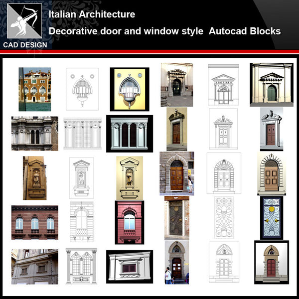 ★【Italian Architecture Style Design】Italian architecture · Decorative door and window style CAD Drawings - Architecture Autocad Blocks,CAD Details,CAD Drawings,3D Models,PSD,Vector,Sketchup Download