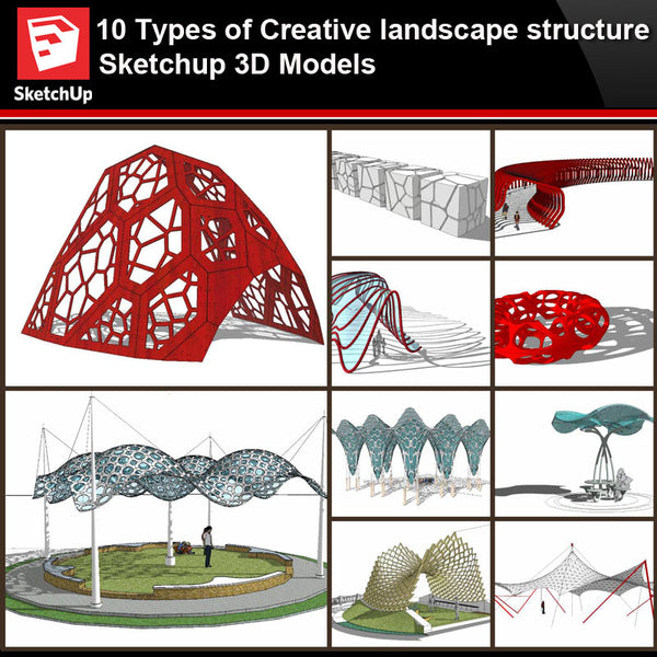 💎【Sketchup Architecture 3D Projects】10 Types of Creative landscape structure Sketchup 3D Models V4 - Architecture Autocad Blocks,CAD Details,CAD Drawings,3D Models,PSD,Vector,Sketchup Download
