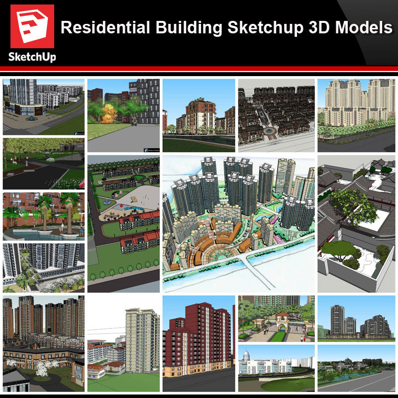 💎【Sketchup Architecture 3D Projects】20 Types of Residential Building Sketchup 3D Models V4