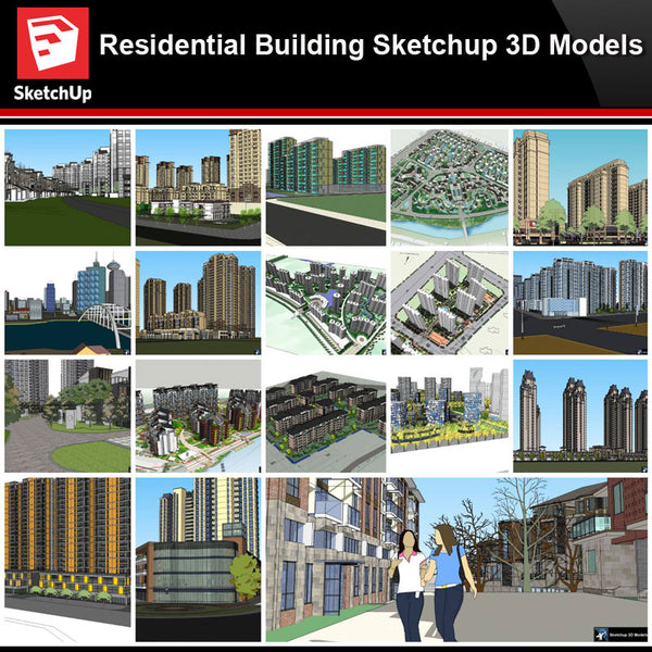 💎【Sketchup Architecture 3D Projects】20 Types of Residential Building Sketchup 3D Models V7 - Architecture Autocad Blocks,CAD Details,CAD Drawings,3D Models,PSD,Vector,Sketchup Download