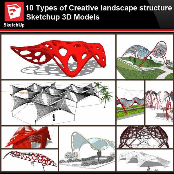 💎【Sketchup Architecture 3D Projects】10 Types of Creative landscape structure Sketchup 3D Models V1 - Architecture Autocad Blocks,CAD Details,CAD Drawings,3D Models,PSD,Vector,Sketchup Download