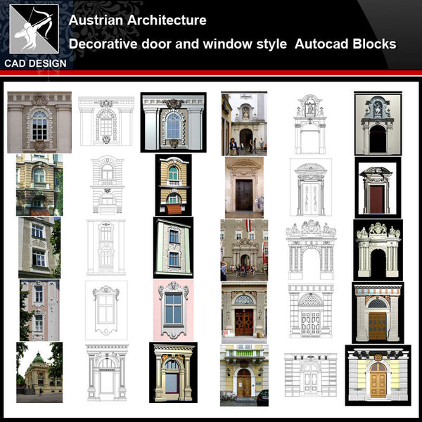 ★【Austrian Architecture Style Design】Austrian architecture · Decorative door and window style CAD Drawings - Architecture Autocad Blocks,CAD Details,CAD Drawings,3D Models,PSD,Vector,Sketchup Download