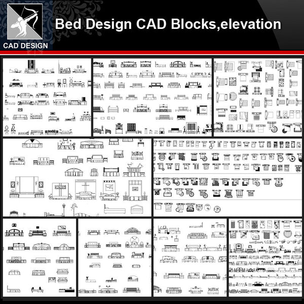 ★【Bed Design Autocad Blocks,elevation Collections】All kinds of Bed CAD Blocks - Architecture Autocad Blocks,CAD Details,CAD Drawings,3D Models,PSD,Vector,Sketchup Download