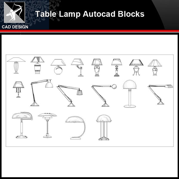 ★【 Modern Table Lamp Autocad Blocks】-All kinds of Autocad Blocks Collection - Architecture Autocad Blocks,CAD Details,CAD Drawings,3D Models,PSD,Vector,Sketchup Download