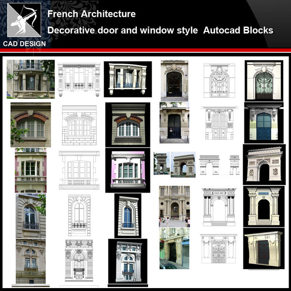 ★【French Architecture Style Design】French architecture · Decorative door and window style CAD Drawings - Architecture Autocad Blocks,CAD Details,CAD Drawings,3D Models,PSD,Vector,Sketchup Download