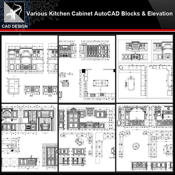 ★【Various Kitchen Cabinet Autocad Blocks & elevation V.3】All kinds of Kitchen Cabinet CAD drawings Bundle