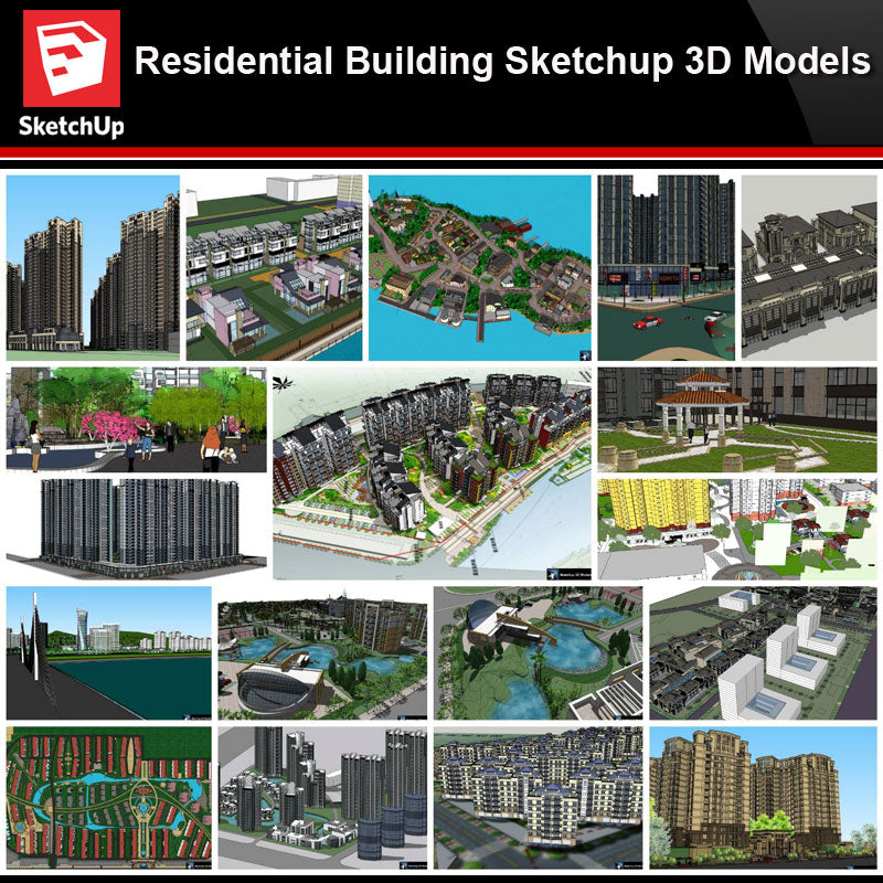 💎【Sketchup Architecture 3D Projects】20 Types of Residential Building Sketchup 3D Models V8
