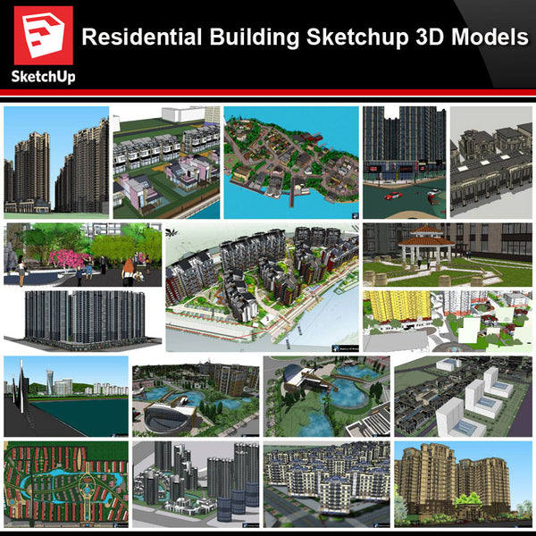 💎【Sketchup Architecture 3D Projects】20 Types of Residential Building Sketchup 3D Models V8 - Architecture Autocad Blocks,CAD Details,CAD Drawings,3D Models,PSD,Vector,Sketchup Download