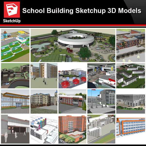 💎【Sketchup Architecture 3D Projects】20 Types of School Design Sketchup 3D Models V7 - Architecture Autocad Blocks,CAD Details,CAD Drawings,3D Models,PSD,Vector,Sketchup Download