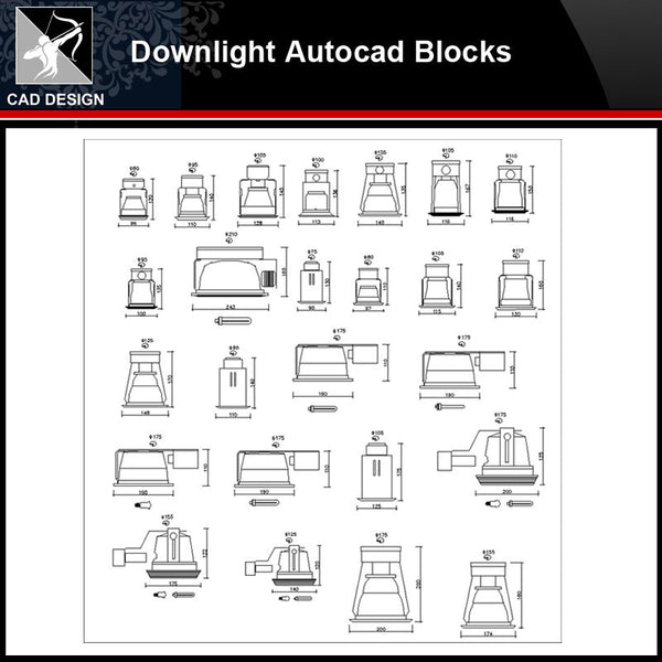 ★【Downlight Autocad Blocks】-All kinds of Lighting Autocad Blocks Collection - Architecture Autocad Blocks,CAD Details,CAD Drawings,3D Models,PSD,Vector,Sketchup Download
