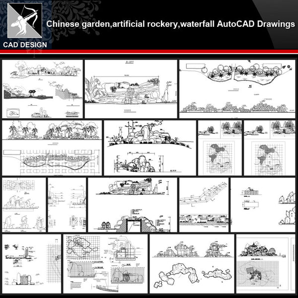 ★【Chinese Garden,Artificial rockery,Waterfall Autocad Drawings】All kinds of Chinese Landscape CAD Drawings - Architecture Autocad Blocks,CAD Details,CAD Drawings,3D Models,PSD,Vector,Sketchup Download
