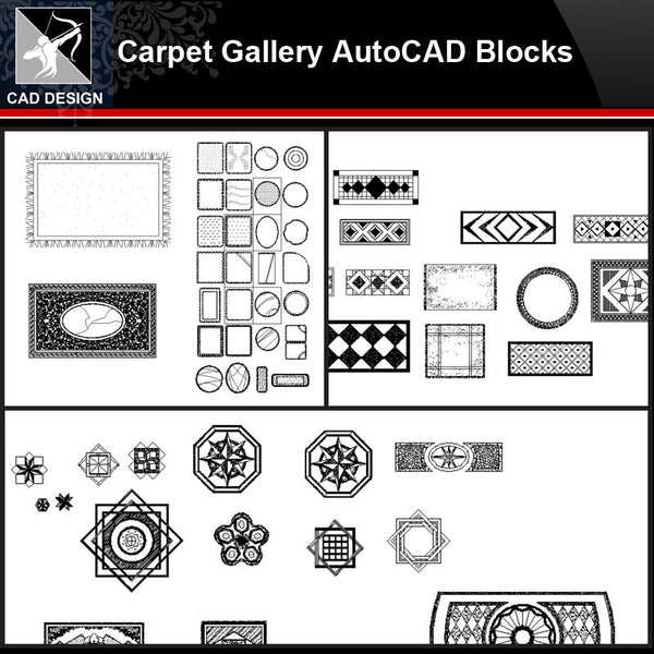 ★【Carpet Gallery Autocad Blocks Collections】All kinds of Carpet CAD Blocks - Architecture Autocad Blocks,CAD Details,CAD Drawings,3D Models,PSD,Vector,Sketchup Download